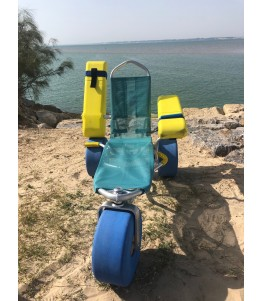 The Atlantic Chair Baby (Oceanic Baby) is an amphibious chair that allows children with reduced mobility to swim on the beach