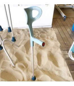 Amphibious Crutches allow you to walk comfortably on the sand on the beach and float in the water